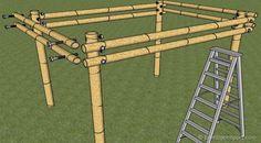 How to Build a Bamboo Pergola Pergola Canopy, Pergola Swing, Metal Pergola, Pergola With Roof, Covered Pergola, Outdoor Pergola, Patio Roof, Diy Pergola, Pergola Kits