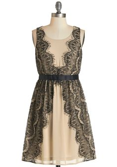 A Lace for Everything Dress. Dinner parties, date nights, downtown charity galas - the elegant events that fill your schedule are even more graceful when attended wearing this beige dress! #tan #modcloth