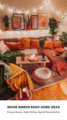Room Ideas Bedroom, Diy Bedroom Decor, Boho Living Room, Living Room Decor, Cozy Living Rooms, Deco Boheme Chic, Boho Chic, Deco Retro, Living Vintage