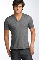 V-neck with single button top.