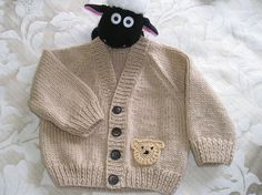 Baby boy's cardigan with cute Teddy Bear motif  - 3-9 month old - available to buy from Ewe2U on Etsy.com