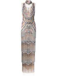 Shop Marchesa embellished column fringe gown.