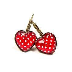 Earrings Polka-Dots heart