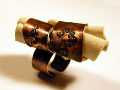 Big copper ring with genuine white leather by BaccaraJewelry, $42.00