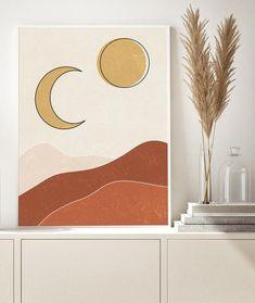 Sun and moon art print burnt orange print boho art abstract Art Diy, Moon Painting, Mid Century Art, Moon Art, Landscape Art, Mountain Landscape, Geometric Art, Aesthetic Art, Wall Art Prints
