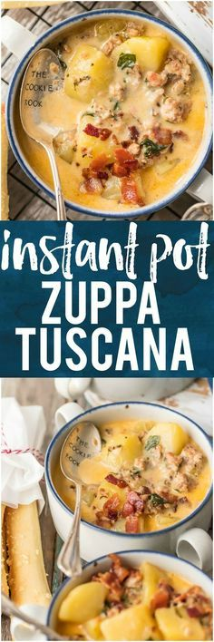 It doesn't get better than this INSTANT POT ZUPPA TUSCANA! We first fell in love with this hearty and creamy soup at Olive Garden but I love this quick pressure cooker version even more. Loaded with sausage, bacon, potatoes, spinach, and so much flavor. I'm so in love with this easy favorite comfort food recipe! #soup #olivegarden #copycatrecipe #soup #italian #creamy #soup via @beckygallhardin