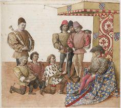 Barthélémy d'Eyck, lci après est pourtraictie la façon et la manière comment le Roy d'armes présente l'espée au Duc de Bourbon (Livre des Tournois, 1462-65, Bibliothèque nationale de France, Paris)