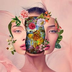 Based in Santa Catarina, Brazil, collage artist Marcelo Monreal's work is going viral for his different take on inner beauty. His latest works cut open the portraits of celebrities in Photoshop, super. Collage Kunst, Art Du Collage, Surreal Collage, Collage Artists, Digital Collage, Digital Art, Collage Collage, Collage Portrait, Flower Collage