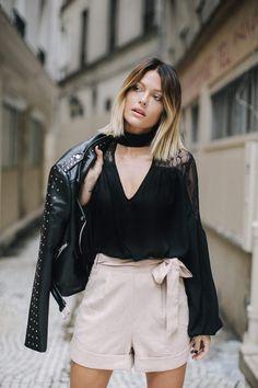 #CarolineReceveurxMissguided : perfecto, 70€, blouse, 31€, short, 35€,