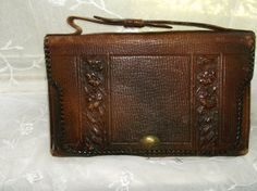 Antique 1900's Hand Tooled Leather Purse by BitsOfLeatherNLace