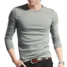 Men's Tops Tees Autumn new cotton v neck Long sleeve t shirt men fashion trends fitness tshirt