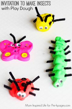 Bug Play Dough Activity Making Insects with Play Dough for learning and fun in preschool and kindergarten! Practice fine motor skills and science with this fun activity! Insect Activities, Playdough Activities, Spring Activities, Preschool Activities, Preschool Learning, Family Activities, Kids Crafts, Bug Crafts, Spring Theme