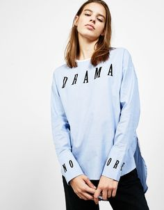 T-shirt with embroidered sleeves - Shirts - Bershka Philippines