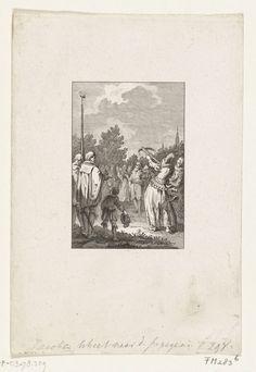 Reinier Vinkeles | Jacoba van Beieren schiet te Goes naar de papegaai, ca. 1430, Reinier Vinkeles, Cornelis Bogerts, Jacobus Buys, 1780 - 1795 | Jacoba van Beieren schiet te Goes naar de papegaai, ca. 1430. Papegaaischieten.