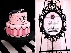 Pink and black cake and frame http://blog.amyatlas.com/2012/01/pink-black-white-guest-dessert-feature/