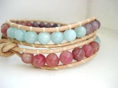 'RUSTIC Pastel Jade Tan Leather Double Wrap Bracelet' is going up for auction at  4pm Tue, Jun 26 with a starting bid of $5.