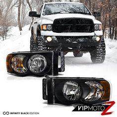 2002-2005 Dodge Ram 1500 2500 3500 HARLEY STYLE Pair Black Headlights Headlamps #VIPMOTOZ
