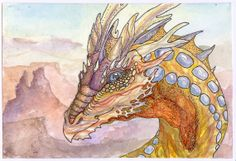 4x6 mini painting Desert Dragon watercolor by aBirdintheHeart, $35.00