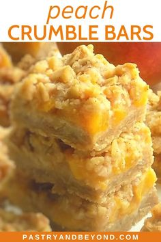 Peach Crumble Bars-These peach bars are crunchy, soft and slightly chewy. You'll need the same dough for the crust and the topping to make these delicious peach oatmeal bars. Fruit Recipes, Sweet Recipes, Baking Recipes, Dessert Recipes, Easy Recipes, Yogurt Recipes, Cookbook Recipes, Cookie Recipes, Recipies