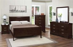 Louis Philippe Classic Cappuccino Master Bedroom Sets