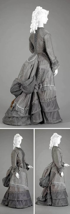 Walking suit, 1870s. Two-piece visiting dress in 2 shades of gray silk faille. Indianapolis Museum of Art