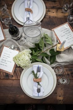 rustic tablescape + place settings
