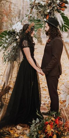 33 Beautiful Black Wedding Dresses That Will Strike Your Fancy Wedding Dresses Guide is part of Wedding dress guide A black wedding dresses fashion trend for modern brides It is gorgeous choice i - Fancy Wedding Dresses, Wedding Attire, Wedding Bells, Boho Wedding, Wedding Gowns, Dream Wedding, Wedding Black, Black Weddings, Geek Wedding