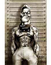 Too Fast Popeye Poster Mug Shot Tattooed Punk Rock Sailor