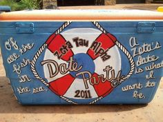 nautical life saver :)but with the frat and not zeta Fraternity Coolers, Frat Coolers, Zeta Tau Alpha, Theta, Kappa, Delta Zeta Crafts, Little Sister Gifts, Ice Cooler, Beer Pong Tables