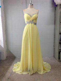 2014 New Style Sweetheart Sheath Floor Length Rhinestone Daffodils Zipper Prom Dress/Party Dress/Evening Dress /Homecoming Dress/Ball Gown