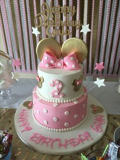 El Happy Clara ??? Para la torta ? O para uno de los frasquitos dorados ? Pink and gold Minnie Mouse birthday