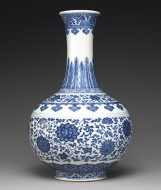 A BLUE AND WHITE 'MING STYLE' BOTTLE VASE<br>DAOGUANG SEAL MARK AND PERIOD | lot | Sotheby's