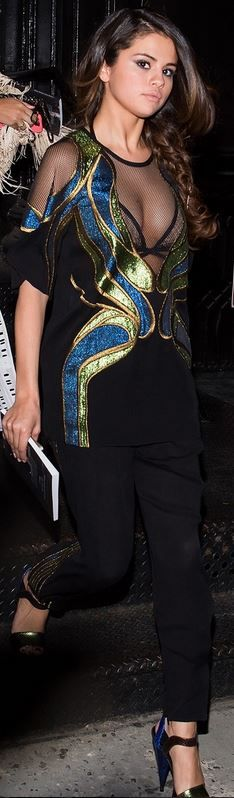 Who made  Selena Gomez's black mesh butterfly print top and green sandals that she wore in New York?