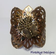 Steampunk butterfly bracelet - American made brass - cosplay - cuff bracelet - Industrial- Victorian cuff- vintage stampings- magnetic clasp by FireskyeDesigns on Etsy