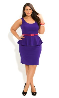 Plus Size Scoop Ponte Peplum Dress - City Chic Plus Size Peplum, Plus Size Dresses, Plus Size Outfits, Plus Size Looks, Curvy Plus Size, Curvy Girl Fashion, Plus Size Fashion, Petite Fashion, City Chic