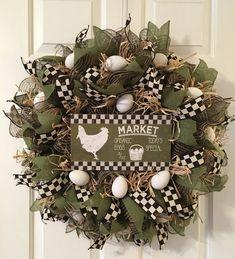 Farmers Market Chicken Wreath Egg Wreath Farmhouse Wreath Country Wreath Front Door Wreath Deco Mesh Wreath Fixer Upper Wreath by TiraMercantile on Etsy Christmas Mesh Wreaths, Holiday Wreaths, Holiday Decor, Winter Wreaths, Spring Wreaths, Christmas Christmas, Deco Mesh Wreaths, Ribbon Wreaths, Floral Wreaths