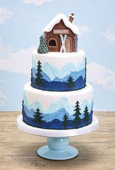 Ski Slope Lodge Cake Design - cute Christmas holiday cake too #cakedesigns