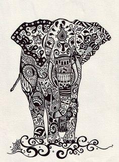 design boho elephant henna design