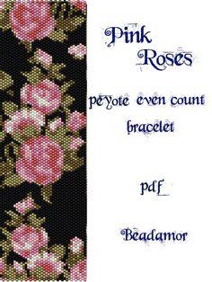 Peyote Pattern for bracelet:Pink Roses- INSTANT DOWNLOAD pdf