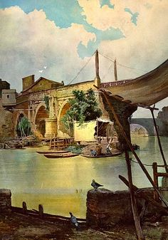 Ettore Roesler Franz.. Ponte Rotto in Rome.