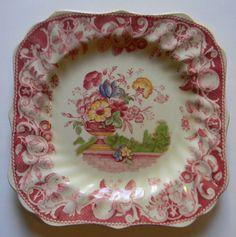 Vintage English #Transferware Square Plate Royal Doulton  Urn Filled with Flowers #nancysdailydish