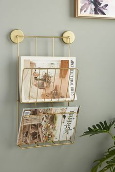 Kelly Magazine Rack by Anthropologie in Brown, Hardware Guest room Guest Room Office, Office Walls, Office Decor, Beach Office, Magazine Wall, Magazine Racks, Magazine Storage, Magazine Stand, Diy Magazine Holder