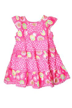 A pretty pink printed cotton frock with polka dots for your little girl which will add to the colour and beauty of her wardrobe.A perfect dress for any occasion. Details include a matching bow on the chest.    Dimension    1year  length 45cm  shoulder 18cm  chest 25cm   @Kathi Radcliffe @Yu Tahori @Laura Hutchison @ PlayDrMom @Atelier Christine @Shuji Hisada @· SMALLable ·         @Chad Demers @Little Fashion Gallery @Zina :: Let's Lasso the Moon
