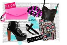 """Neon and Leather"" by ninapaz27 on Polyvore"