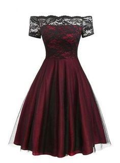 Dress 15393 Off Shoulder Lace Swing Dress – Retro Stage - Chic Vintage Dresses and Accessories Grad Dresses, Dance Dresses, Homecoming Dresses, Cute Dresses, Beautiful Dresses, Short Dresses, Pretty Dresses For Teens, Teen Dresses, Teen Fashion Outfits