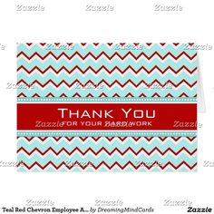 teal red chevron employee anniversary card - Employee Anniversary Cards