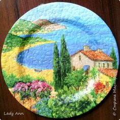 Rice Paper Decoupage, Decoupage Plates, Mosaic Garden, Mosaic Art, Round Canvas, Crafts With Pictures, Coffee Painting, Plate Art, Egg Art