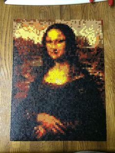 Mona Lisa portrait perler beads by by killercard53