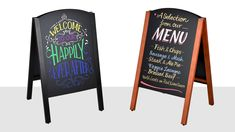 This sidewalk chalkboard sign helps your location advertise to passersby and get them interested in your merchandise or services! The write-on board is dual-sided, taking up less space on the pavement whilst maximizing exposure to potential customers. Outdoor Chalkboard, Chalkboard Signs, Exhibition Display Stands, Coffee Shop Menu, A Frame Signs, Steak And Ale, Menu Boards, Your Location, Cafe Restaurant