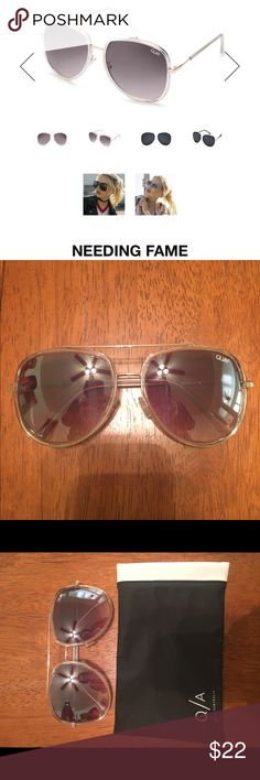 """QUAY Needing Fame sunglasses! These are the Needing Fame sunglasses from Quay Australia in """"clear/brown"""". They have been worn, but they're too big for my head which is why I'm selling! No scratches or anything, they are in good condition. Quay Australia Accessories Sunglasses"""